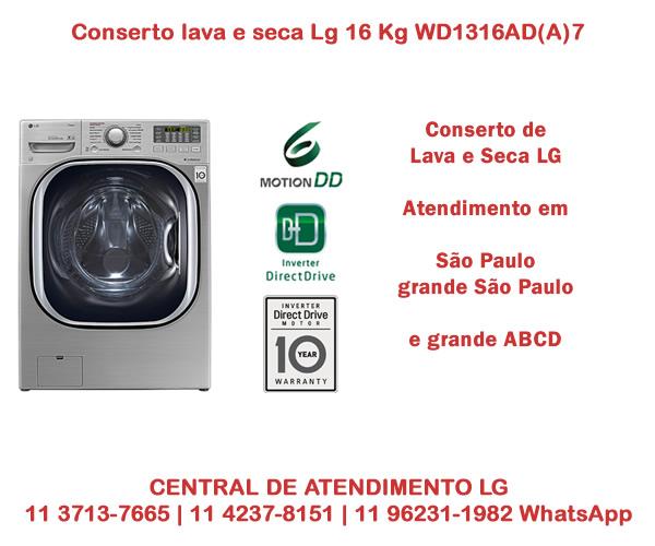 Conserto lava e seca Lg 16Kg WD1316AD(A)7